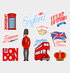 British vintage stickers crown and queen teapot vector