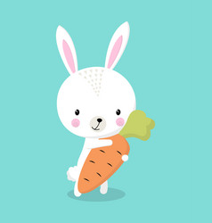 bunny with carrot isolated vector image