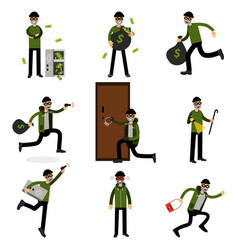 burglars committing crimes set sneaking thiefs vector image