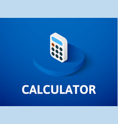 Calculator isometric icon isolated on color vector