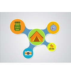 Camping graphic in round style outdoor elements on vector image