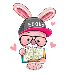Cartoon pink rabbit in a cap with book vector