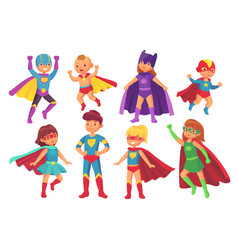 Cartoon superhero kids characters joyful kid vector