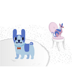 cat and dog characters french bulldog and sphinx vector image