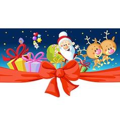 christmas design - santa rides in a sleigh vector image