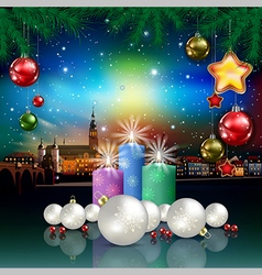 Christmas greeting with panorama of city and vector
