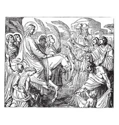 Christs entry into jerusalem vintage vector