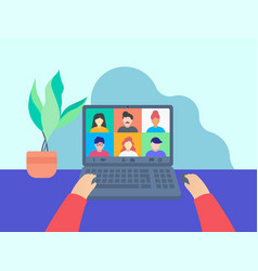 colleagues talk to each other through video call vector image