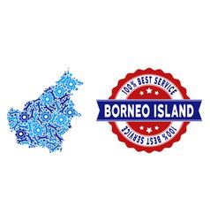 Composition borneo island map of repair tools vector