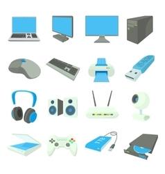Computer equipmen icons set cartoon style vector image