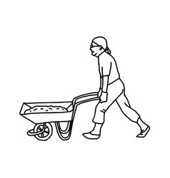 Construction worker pushing a wheelbarrow vector