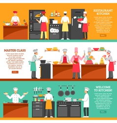 Cooking Master Class Horizontal Banners vector