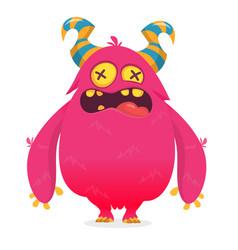 cool cartoon pink monster character design vector image
