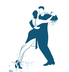 couple dancing tango drawn sketch by line vector image