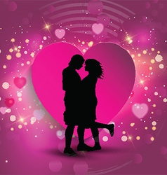 Couple on a heart background vector