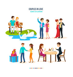 couples spend their time in different settings vector image