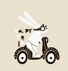 Cute bunny on scooter childish print vector