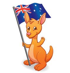 Cute cartoon kangaroo joey with aussie flag vector
