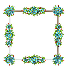 daisy flowers color square frame vector image