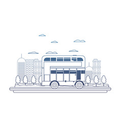 degraded line building and urban london bus vector image