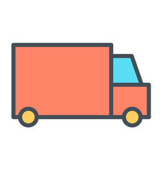 delivery truck pixel perfect thin line icon 48x48 vector image