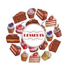 dessert cakes and cupcakes poster vector image