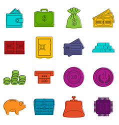 different money icons doodle set vector image
