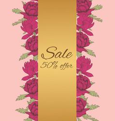 discount sale flyer peonies vector image