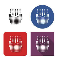 dotted icon french fries in four variants with vector image
