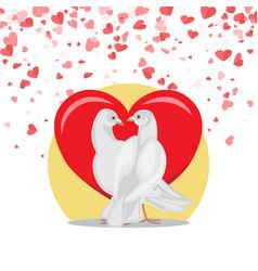doves symbol love valentine postcard with birds vector image