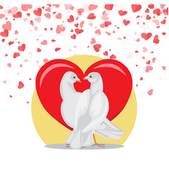 doves symbol of love valentine postcard with birds vector image