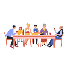 Family at table meal parents and children food vector