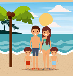 Family wearing swimsuits in the beach sea vector