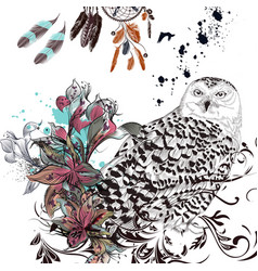 Fashion background with owl flowers and feathers vector
