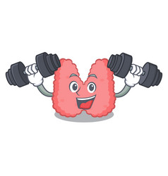 Fitness thyroid character cartoon style vector