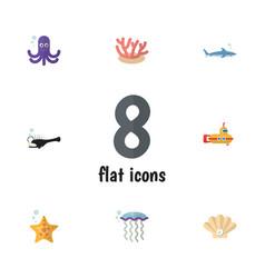 Flat icon marine set of medusa shark fish and vector