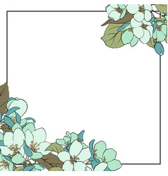 Floral template with apple blossoms vector