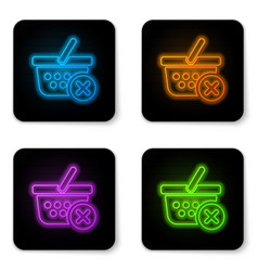 glowing neon remove shopping basket icon isolated vector image