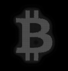 Grayscale bitcoin symbol constructed vector