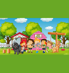 group pet with owner in playground scene vector image