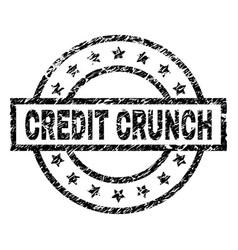 Grunge textured credit crunch stamp seal vector