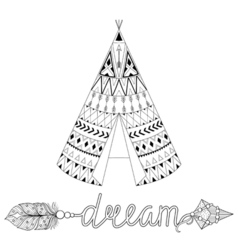 Hand drawn American native wigwam with ethnic vector