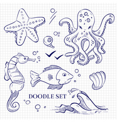 hand drawn ocean wild animals on notebook page vector image