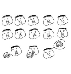 hand drawn thick emoticons set fat faces vector image
