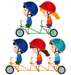 happy children riding bicycle vector image