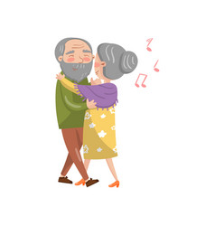 Happy senior couple dancing cartoon vector