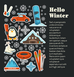 Hello winter banner template with seasonal sport vector