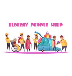 Help elderly people banner vector