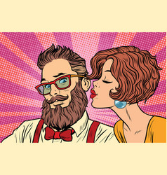 heterosexual couple beautiful woman kisses a vector image