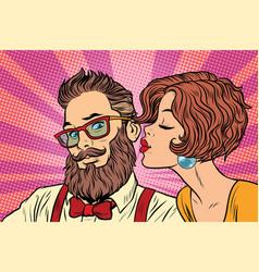 Heterosexual couple beautiful woman kisses vector